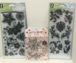 Inkadinkado DAMASK FLOWERS Floral Clear Rubber Stamps Sets L