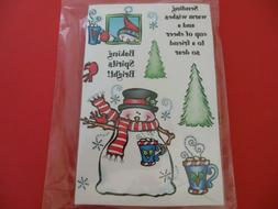Darcie's Snowman Cocoa Cling Rubber Stamp Set