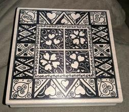 DECORATIVE HEART QUILT PATTERN WOOD MOUNTED RUBBER STAMP HEA