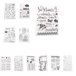 Decorative Silicone Clear Rubber Stamp Script DIY Scrapbook