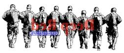 Deep Red Cling Rubber Stamp Rubber Stamp Band of Soldiers Military Armed Forces