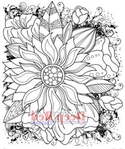 Deep Red Rubber Stamp Color Me Sunflower Flower Garden Colla