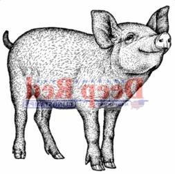 Deep Red Rubber Stamp Farm Piglet Wilbur Zuckerman's Fameous