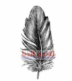 Deep Red Rubber Stamp Feather Plume Quill