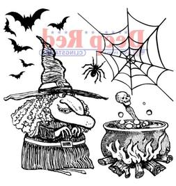 Deep Red Rubber Stamp Witches Brew Spiders Happy Halloween P