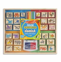 Melissa & Doug Deluxe Wooden Animal Stamp Set
