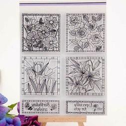 DIY Flowers Transparent Clear Rubber Stamp Sheet Scrapbookin