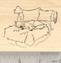 Dog Rubber Stamp, Sleeping in Bed, Labrador, Golden Retrieve