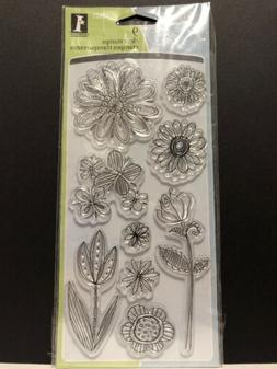 Doodle Flowers Clear Acrylic Stamp Set by Inkadinkado Stamps