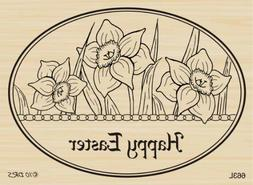 Easter Daffodil Oval Rubber Stamp By DRS Designs