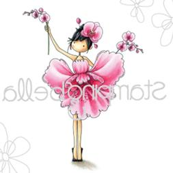 """Stamping Bella EB453  Cling Stamp 6.5""""X4.5""""-Garden Girl Orch"""