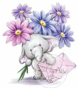 Elephant Bella Flowers Clear Unmounted Rubber Stamp Wild Ros