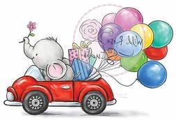 Elephant Car Balloons Clear Unmounted Rubber Stamp Wild Rose