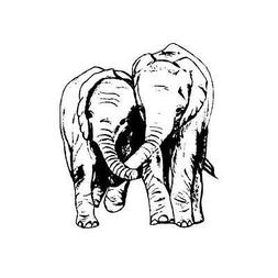 ELEPHANT FRIENDS sm. unmounted rubber stamp Africa animals,