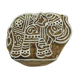 Elephant Wood Block Hand Carved Brown Printing Block Textile