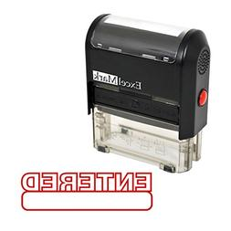ENTERED Self Inking Rubber Stamp - Red Ink
