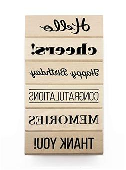 Opia CRAFTS Everyday Sentiment Wood Mounted Rubber Stamp Set