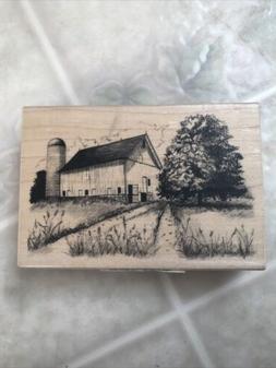 farm barn silo tree landscape rubber stamp