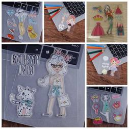 Fashion Girl Silicone Clear Stamp Transparent Rubber Stamps