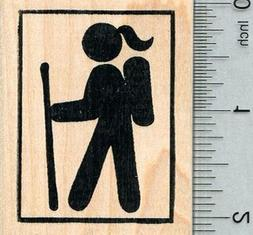 Female Hiker Rubber Stamp, 2 inch tall, with Square border H