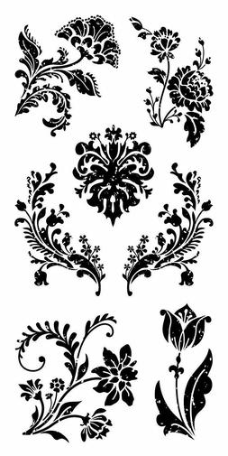 Floral Damask Flowers Clear Acrylic Stamp Set by Inkadinkado