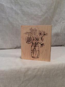 Inkadinkado Floral Mason Jar  Mounted Rubber Stamp Free Ship