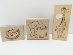 Decora Floral Pattern Round Wooden Rubber Stamp for Scrapboo