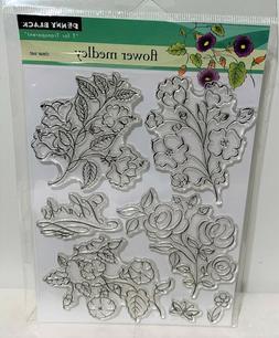 Penny Black FLOWER MEDLEY Floral Clear Rubber Stamps Set NIP
