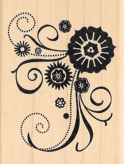 Inkadinkado ~ FLOWER SCROLL CORNER ~ Wood Mounted Rubber Sta