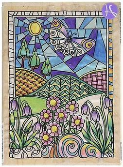 FLOWERS Rubber Stamp PS1030 Hampton Art Brand NEW! COLOR ME