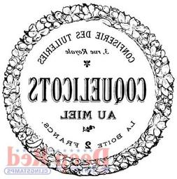 Deep Red Stamps French Candy Label Rubber Cling Stamp