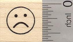 Frown Rubber Stamp, .5 inch Unhappy Face, emoji