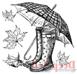 Deep Red Stamps Galoshes and Umbrella Rubber Cling Stamp