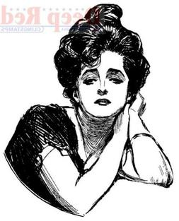 Deep Red Stamps Gibson Girl Portrait Rubber Stamp