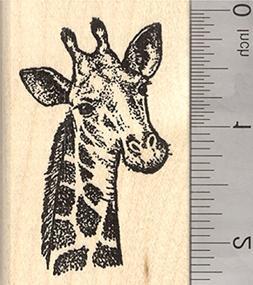 Giraffe Rubber Stamp, Wildlife Portrait