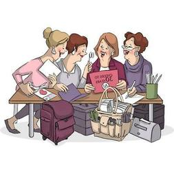 """Art Impressions  Girlfriends Cling Rubber Stamp 3.25""""X2.75""""-"""