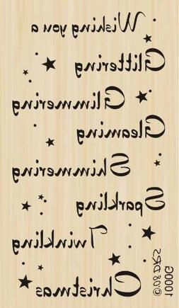 Glittering Twinkling Christmas Greeting Rubber Stamp By DRS