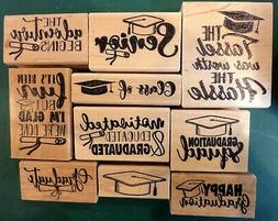 Graduation Celebration, wood mounted rubber stamp set of