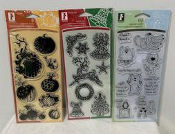 Inkadinkado HALLOWEEN ANIMALS Christmas Clear Rubber Stamps