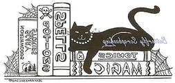 Halloween Cat Spells Books Wood Mounted Rubber Stamp Northwo