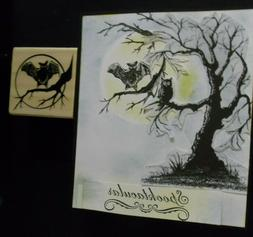 HALLOWEEN rubber stamp  - 3 in 1 MOON SPREAD WING OWL, CROOK