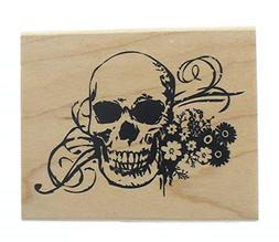 halloween skull skeleton with flowers wooden rubber