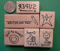 Hand-Drawn Teachers' Rubber Stamp Set of 6 for general class