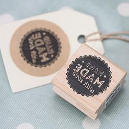 East of India 'Hand Made With Love' Wodden Rubber Stamp - Cr