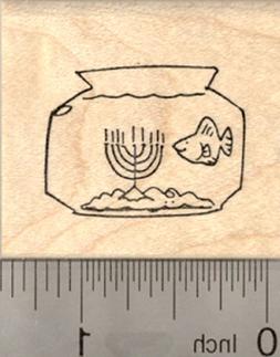 Hanukkah Fish Bowl Rubber Stamp, with Menorah