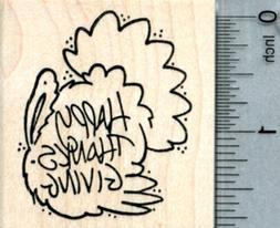 Happy Thanksgiving Rubber Stamp, Turkey G33019 WM