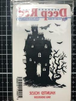 Deep Red Stamps Haunted House Rubber Stamp