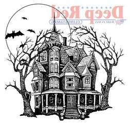Deep Red Stamps Haunted Mansion Rubber Cling Stamp