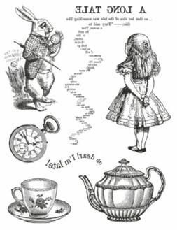 STAMPERIA HD Natural Rubber Stamp cm. 14x18 Alice *Stamping