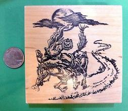 headless horseman wood mounted rubber stamp
